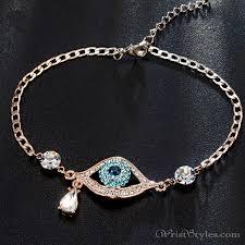 gold bracelet styles images Evil eye austrian rhinestones rose gold bracelet um401396br jpg