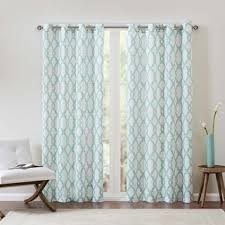 White And Teal Curtains Park Ella Curtain Panel Free Shipping On Orders 45