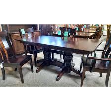 qw amish round mission double pedestal table set u2013 quality woods
