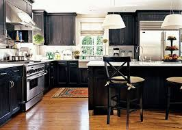 awesome kitchen design with black cabinet and granite counter top