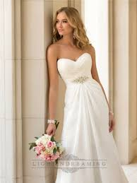 sweetheart criss cross ruched bodice simple wedding dresses