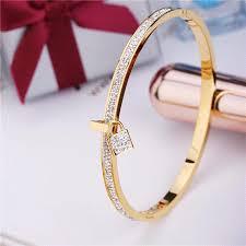 bangle bracelet color gold plated images 2017 new fashion stainless steel bangles bracelet for women pvd jpg