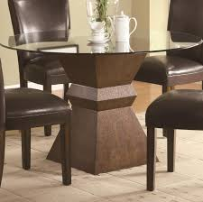 rectangular glass top dining room tables furniture round glass dining table with brown wooden base added