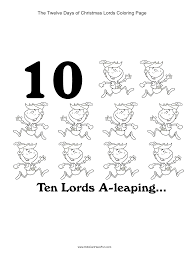12 christmas ten lords leaping coloring http www