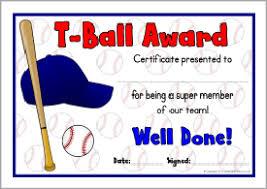 t ball award certificates sb8030 sparklebox baseball