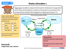 states of matter 3 a year 4 science worksheet
