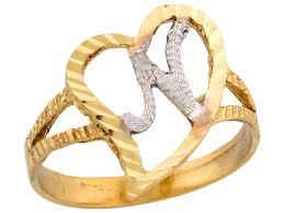 two tone gold fancy cursive letter n unique heart initial ring jl