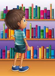 Boys Bookshelves Cartoon Bookshelf With Boys Vector Free Vector Graphic Download