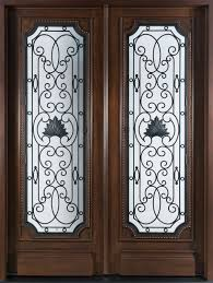 wood and glass exterior doors front door custom double solid wood with walnut finish