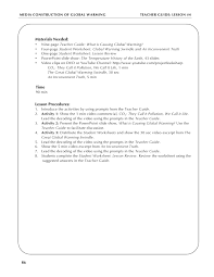 Global Warming Worksheet Global Warming Lesson Plan