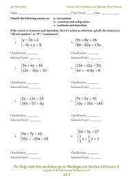 solve systems of equations worksheet worksheets