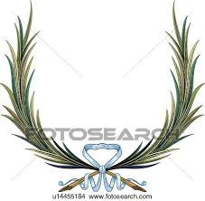 leaf ribbon clipart of green leaves with blue ribbon u14455184 search clip