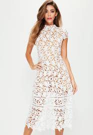 white sleeve lace midi skater dress missguided