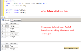 Join Three Tables Sql Delete And Update Rows Using Inner Join In Sql Server