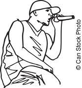 vectors of sketch of hip hop singer singing into a microphone