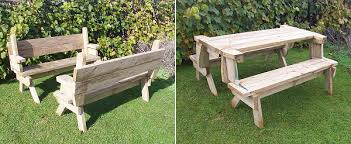 Free Wood Picnic Bench Plans by Bench Converts To Picnic Table Free Plans Page 1