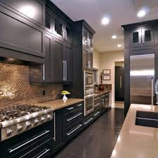 calgary copper backsplash kitchen contemporary with island black