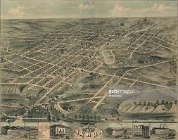 Birds Eye View Maps Map Of Akron Ohio Pictures Getty Images