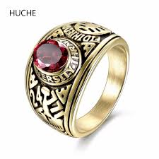 color stone rings images Huche luxury gold color stainless steel ring red stone punk rock jpg