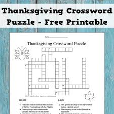 thanksgiving crossword puzzle for and free activity