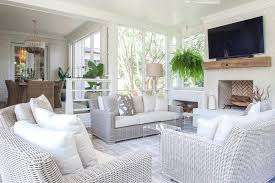 Sunroom Sofas Sunken Sunroom Living Space With Wicker Sofas Transitional