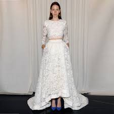 high low wedding dress with sleeves two pieces wedding dress high neck three quarter sleeve high low