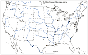 Map Of United States Cities by Blank Map Of The Usa 48 States Cities Rivers