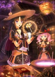 halloween cauldron background happy halloween anime art witch girls witch hat