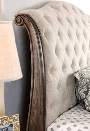 rustic natural tone sleigh bedroom set