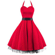 50s polka dot red black rockabilly swing prom pin up dress now