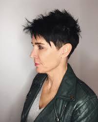 razor cut hairstyle with spiky on top women s black razor cut pixie with spiky texture and clean lines
