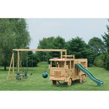 Cat Gyms Amish Made 13x4 Ft Wooden Fire Truck Playground Set