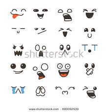 doodle emoticon set lovely kawaii emoticon doodle stock vector 600092939