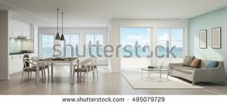 sea view dining living room kitchen stock illustration 495079729