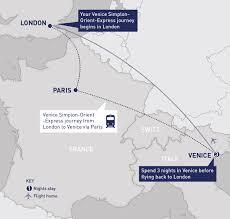 Eurostar Route Map by Venice Simplon Orient Express Railbookers