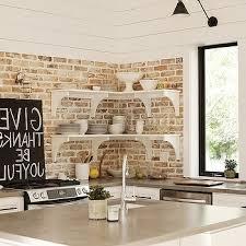 White Brick Backsplash Kitchen - kitchen white kitchen decoration with exposed brick wall plus