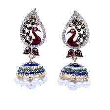 jhumkas earrings peacock meenakari earring with jhumka pearl drop fashioncrab