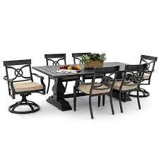 7 Piece Aluminum Patio Dining Set - st charles 7 piece cast aluminum patio dining set with 2 swivel