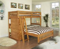 twin over full bunk beds stairs drawers on white tile floor