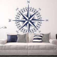 compass rose with stars vinyl wall or ceiling decal many zoom