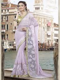 Light Purple Color by Purple Color Best Quality Indian Designer Saree With Blouse Online