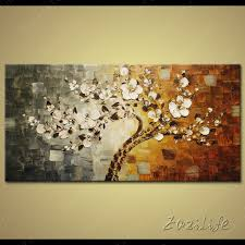 5 piece canvas wall art hand painted palette knife oil tree hand painted palette knife 3d texture flowers canvas oil