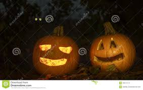 scary halloween pumpkins in the forest night time stock video