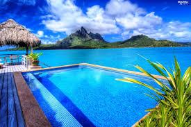 sea mountains bungalow bora bora pool beautiful views