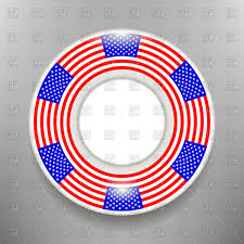 ceramic plate with american flag print isolated on a grey