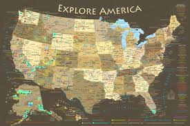 map us parks us map national park map poster illustrated usa map