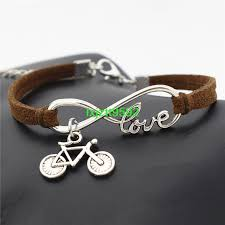 leather bracelet with charms images Popular women silver infinity love bicycle charms leather bracelet png