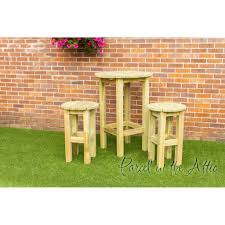 Yellow Bar Table Tenerife Solidwood Outdoor Garden Bar Set High Table And 2 Stools