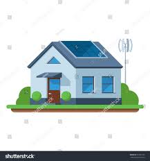 eco friendly house green energy solar stock vector 527051332
