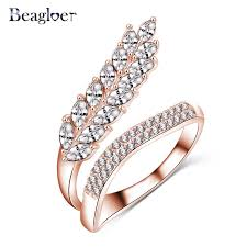 aliexpress buy beagloer new arrival ring gold beagloer new trendy leaf shape ring gold color aaa zircon ring
